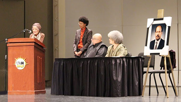 Vel Phillips speaks at Van Horne Memorial