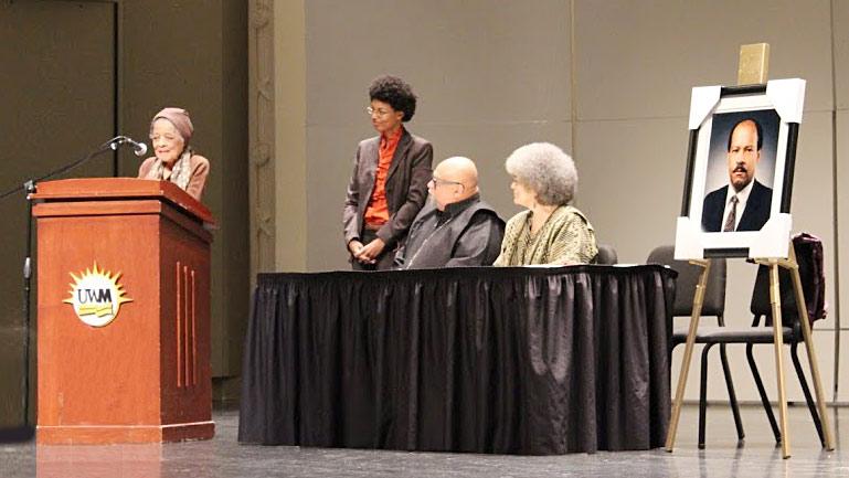 Vel Phillips speaks at Van Horne Memorial