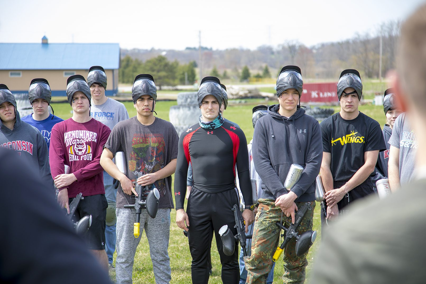 Air Force ROTC cadets and paintball training exercise.