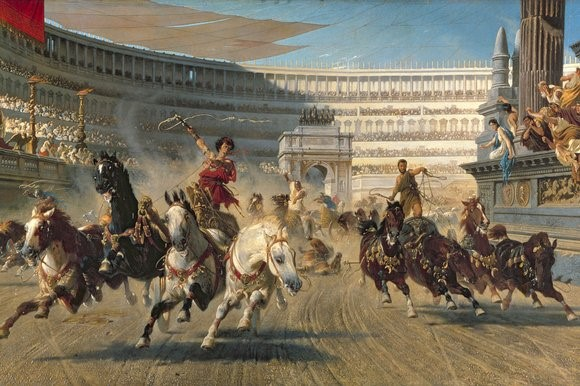 roman charriot racing Photo about chariot with driver in roman costume and two shire horses on fiera cavalli verona, some motion blur image of presentation, costume, horse - 1560229.