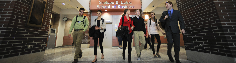 Students Walking Through Lubar Hall