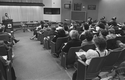 Stuart Hall giving his lecture on April 25, 1984 in Curtin 175