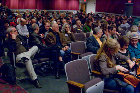 Audience for Carolee Schneemann's keynote lecture