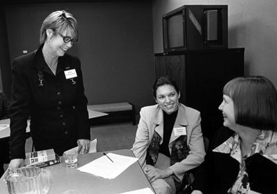 (l-r) Robin Pickering-Iazzi (UWM), Elizabeth Coffman (Tampa), and Michelle Glaros (Emerson)