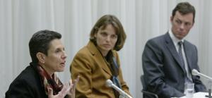 (l to r) Carla Antonaccio, Susanne Ebbinghaus, and Geoff Emberling