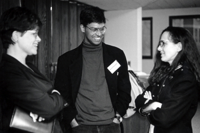 photo of Leslie Bellavance, Arvind Rajagopal, and Marina Pérez de Mendiola