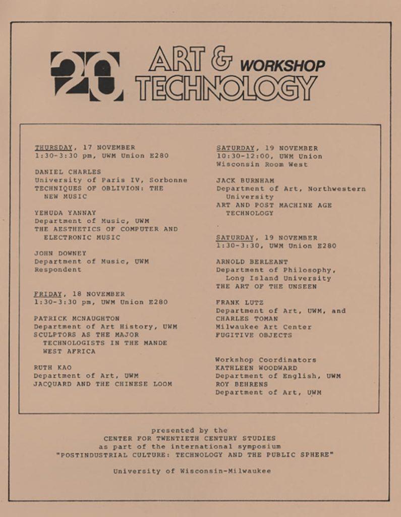 Art & Technology Workshop schedule