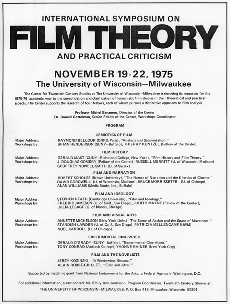 International Symposium On Film Theory And Practical Criticism Center For 21st Century Studies