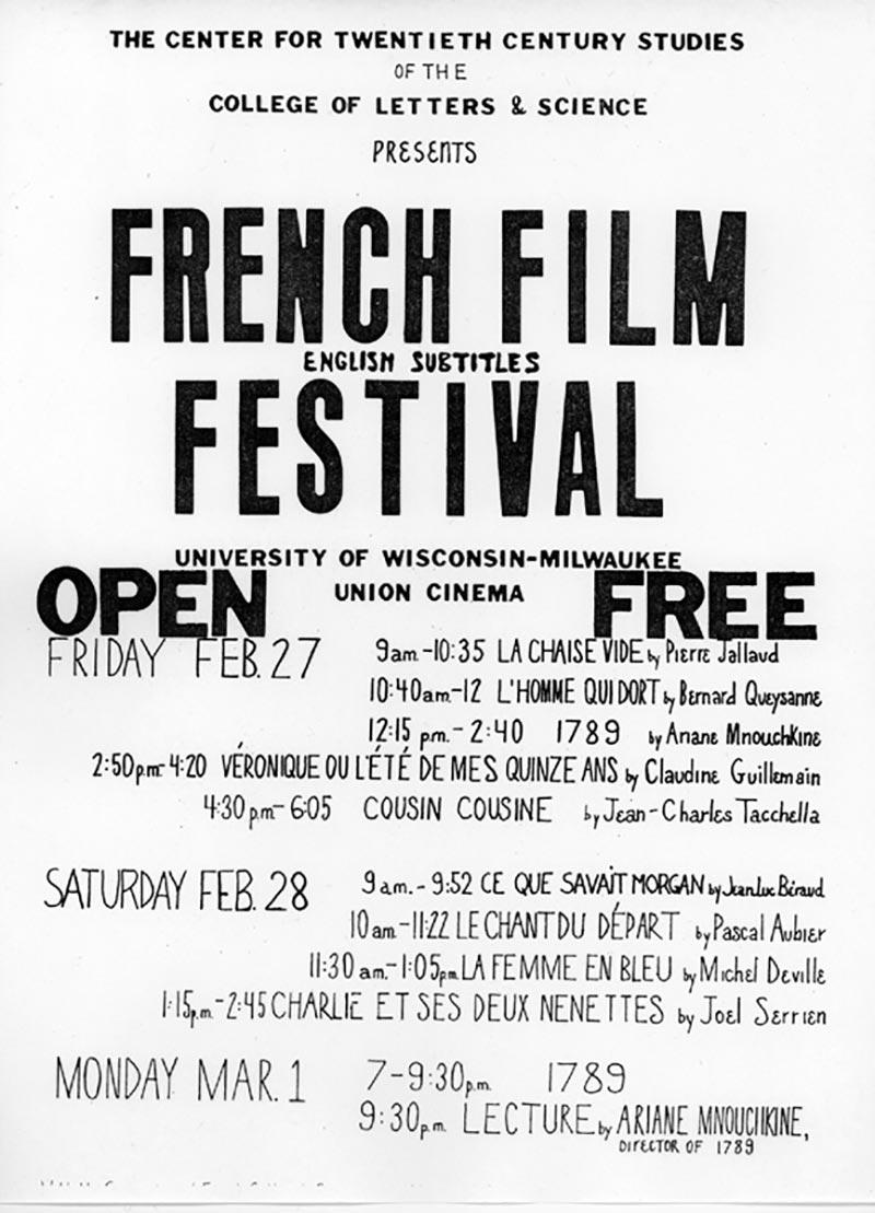 French Film Festival Poster UWM February 1976