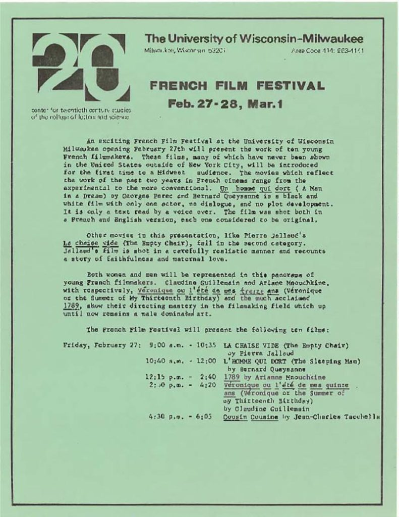 French Film Festival announcement