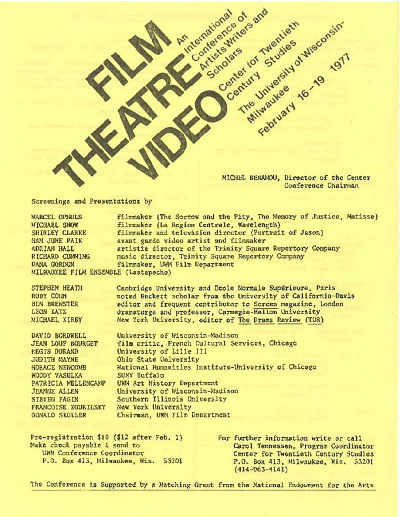 International Conference on Film/Theory/Video