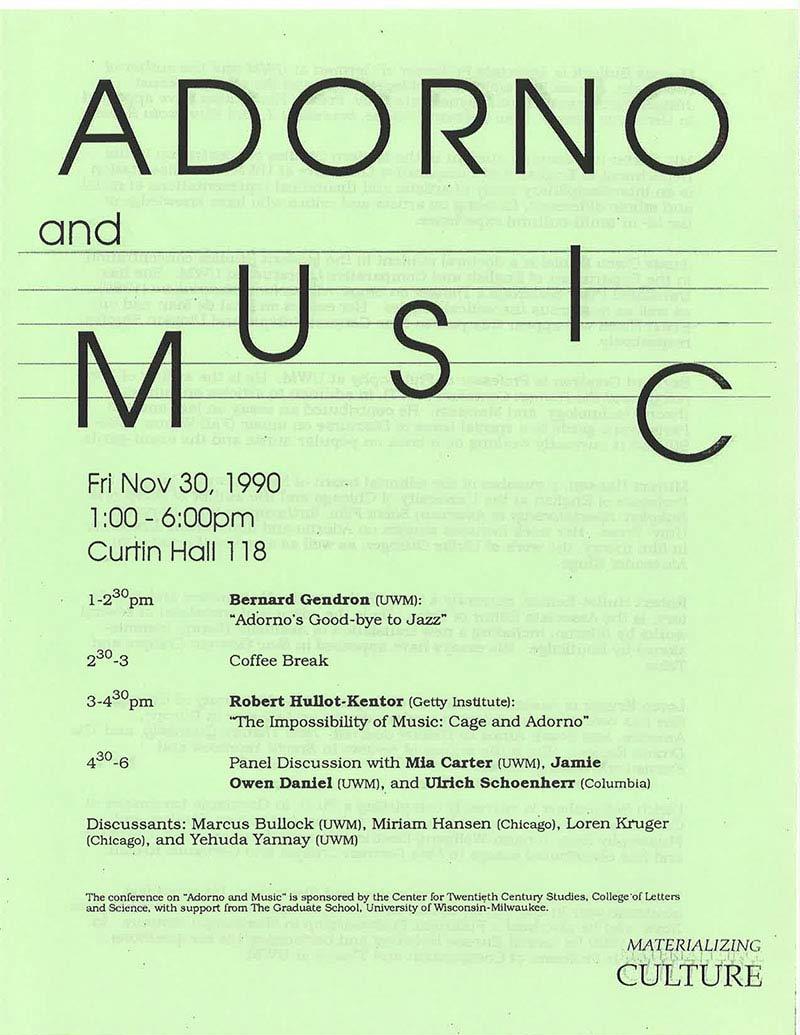 Conference: Adorno and Music