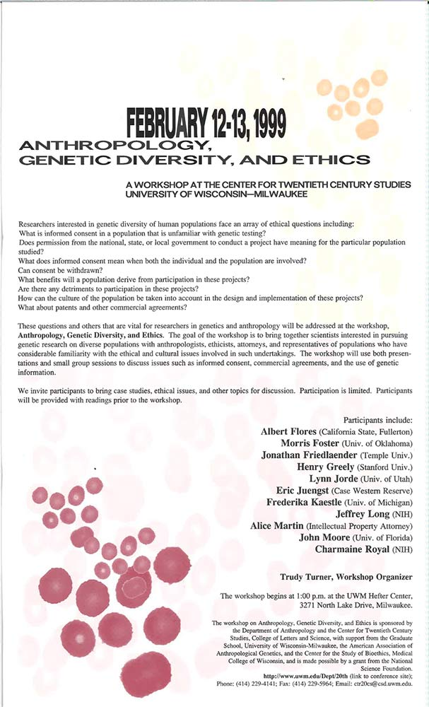 Workshop: Anthropology, Genetic Diversity, and Ethics