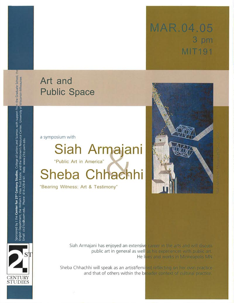 Siah Armajani and Sheba Chhachhi