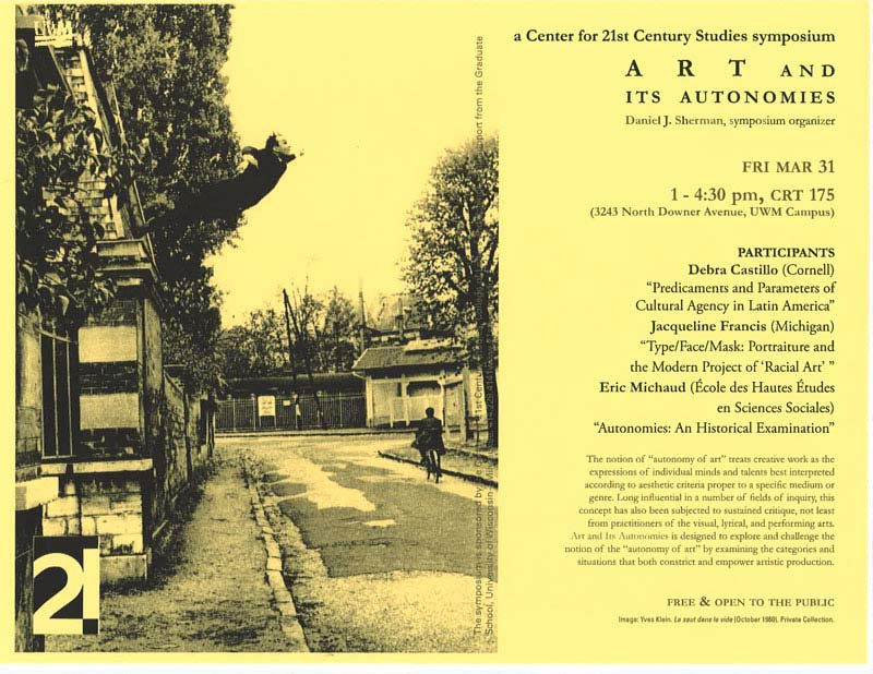 Art and Its Autonomies Symposium poster