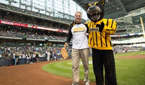 UWM Night at Miller Park: Interim Chancellor Mark Mone threw out the first pitch and  Distinguished Professor of Geography Mark Schwartz sang the national anthem.