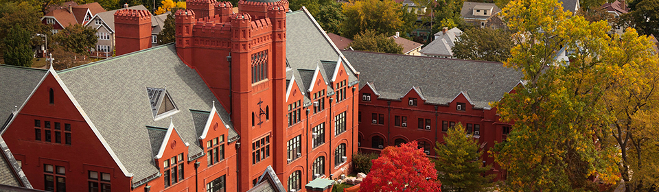 Holton and Johnson Halls in Autumn