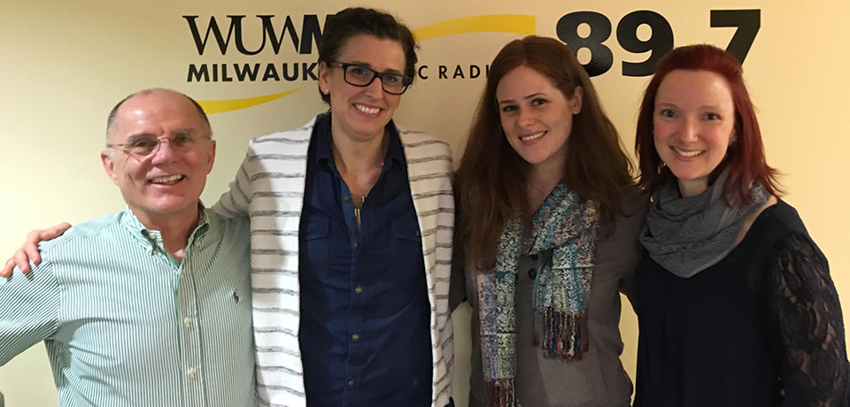 Tom Luljak, Marika Kovacs-Houlihan, co-coordinator of UWM's American Sign Language program, student Kate Peterson and ASL Advisor/Interpreter Jen Hayes on WUWM Radio