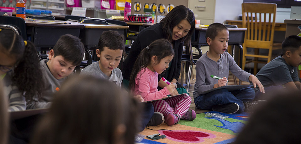 Mai Xiong and her first grade class at Academy of Accelerated Learning school.