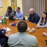 Nadya Fouad meeting with her doctoral students in the Educational Psychology program.