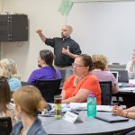 SOE faculty Mike Steele teaching MPS math & science teachers at the South Milwaukee high school.