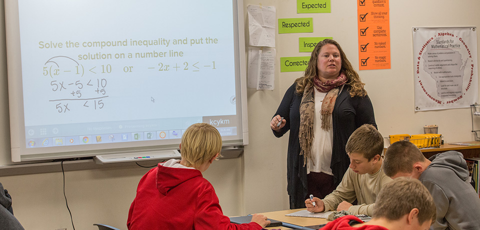 Melissa Hongsermeier teaching a ninth grade algebra class at South Milwaukee High School.