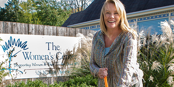 Nancy Lindenberg working in the garden at The Women's Center in Waukesha. Photo by John Koster.