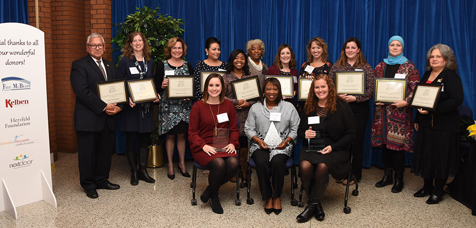 Celebration of Teaching 2017. April Gagliano, UWM alumna, front row at right, was the Advanced Career Award winner. Jackie Herd-Barber (center), who serves on the School of Education's Board of Visitors, received the Champion of Education Award. At left is Alyssa Mussa, who won the Early Career Award.