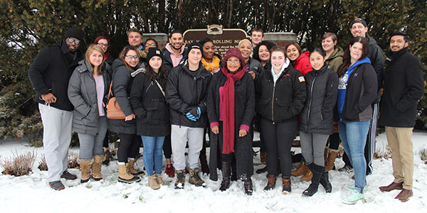 Ed Policy students on field trip of Milwaukee with SOE senior lecturer member Florence Johnson.