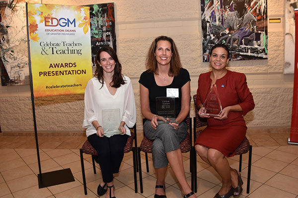 Top award winners. (Left to right) Kaitlynn Moquet, Stellar Collegiate Charter School, Early Career Award winner; Heidi Ann Hamilton, Arrowhead Union High School, Advanced Career Award Winner; and Jeannie Fenceroy of the Greater Milwaukee Foundation who accepted the Champion of Education Award for Danae Davis.