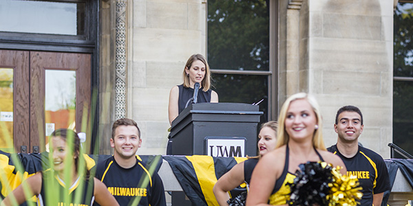 School of Education alumna Rebecca (Becky) Freer speaks at UWM event. for students
