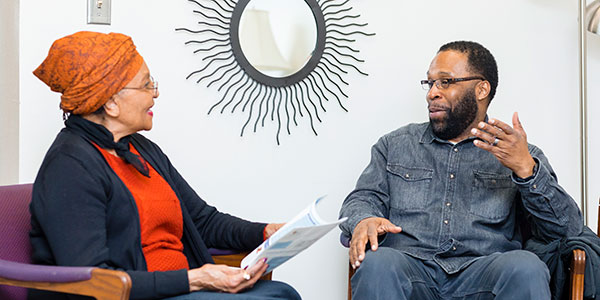School of Education senior Rodney Depass with mentor Florence Johnson, faculty member in the Department of Educational Policy & Community Studies.