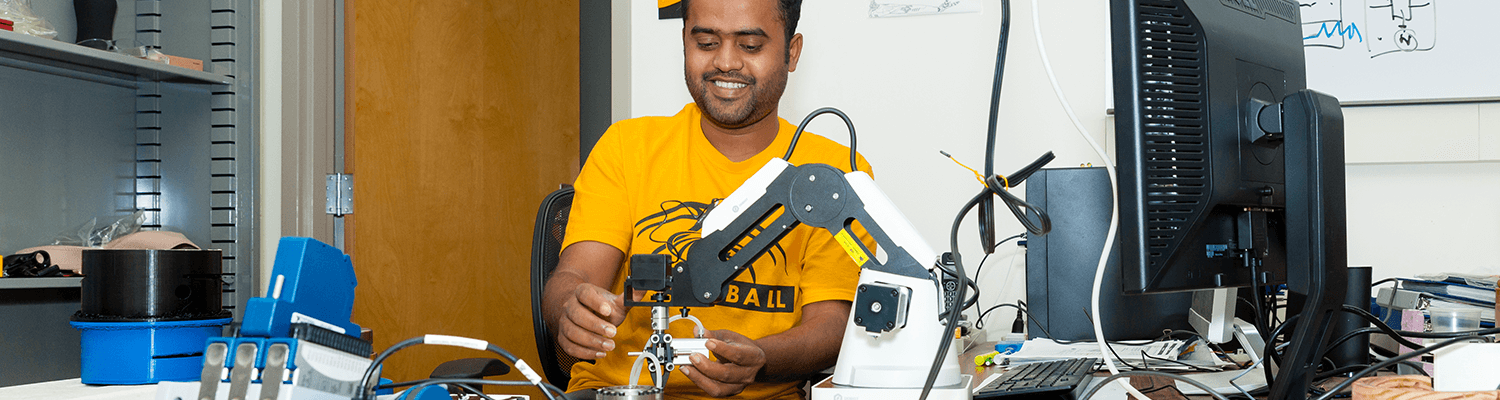 Biomedical engineering student in lab