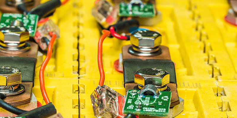 close up of battery terminals