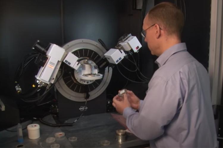 Ben Church in materials lab