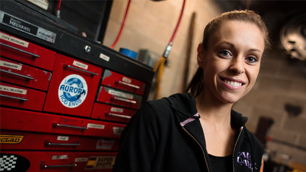 Kelsey Bauer, mechanical engineering and recipient of the Alan Kulwicki Memorial Scholarship,