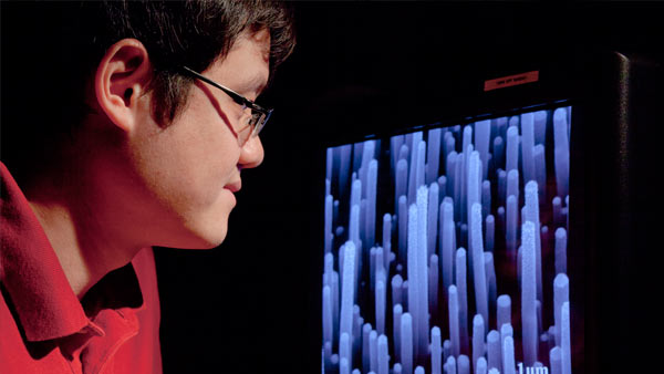 Student Kehan Yu studies a computer screen showing image of carbon nanotubes, in Dr. Junhong Chen