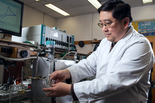 Deyang Qu, the Johnson Controls Endowed Professor in Energy Storage Research, is working on the next generation of car batteries. (Photo courtesy/Scott Elsen)