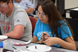 Students received the opportunity to get an up-close view of solar cells.