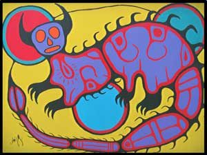 Under Water Panther painting by native artist Jim Oskineegish.
