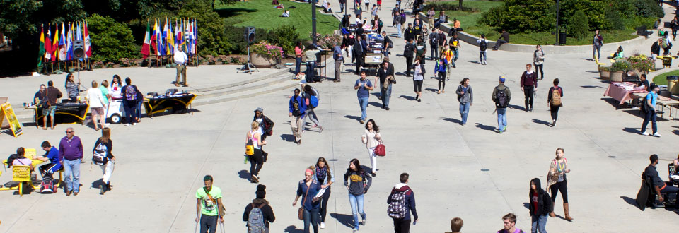 students walking in Spaights Plaza