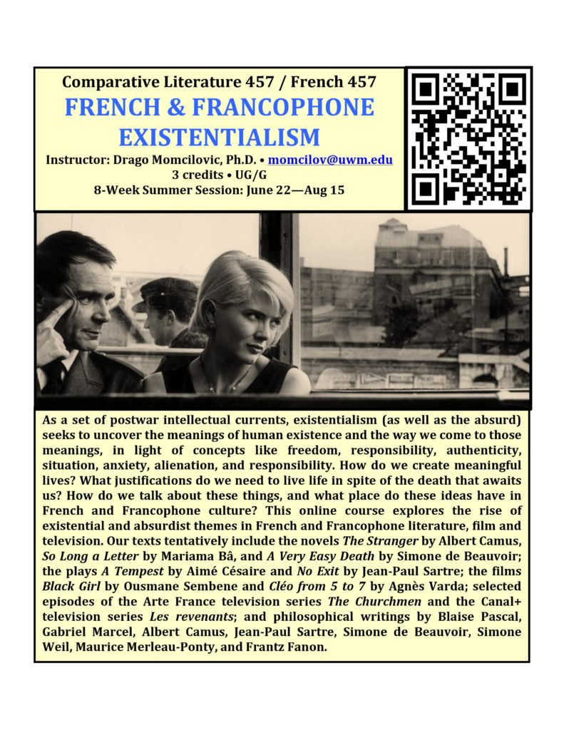 Course description for COMPLIT/FRENCH 457, also available at https://uwm.edu/comparative-literature/undergraduate/courses/