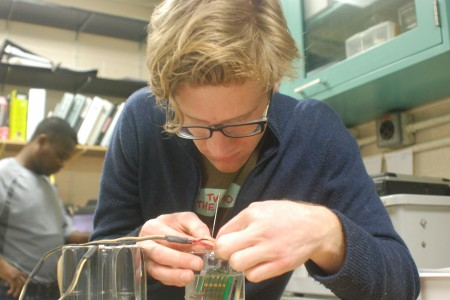 Fresh water graduate student helping to develop new technology in the school's state of the art lab
