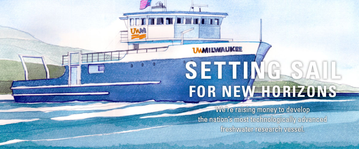 Plans for The New Millennium, the School of Freshwater Sciences' future vessel which will be the most technologically advanced fresh water research vessel in the nation
