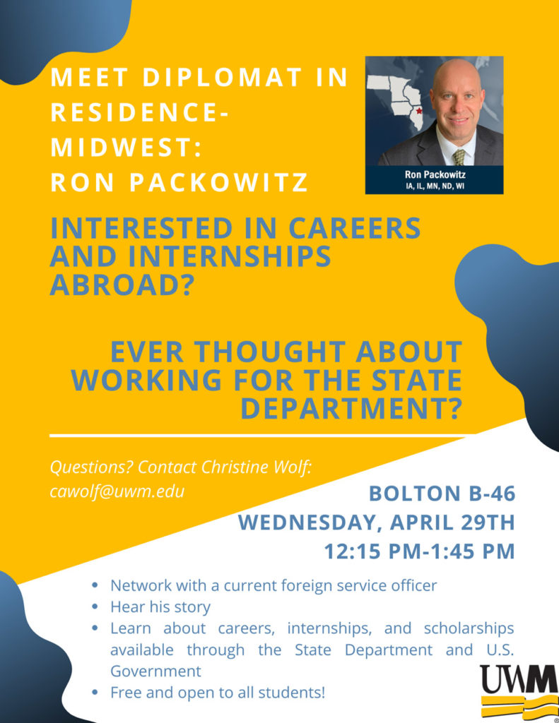 : Midwest's Diplomat in Residence-Ron Packowitz- Campus Visit Flyer