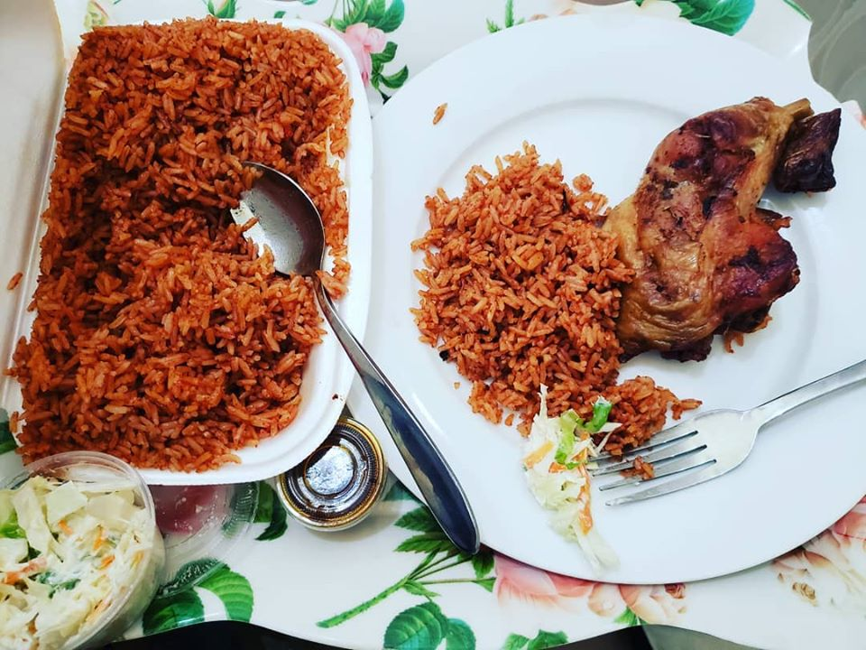 The Ghanaian national dish, Chicken with Jollof Rice