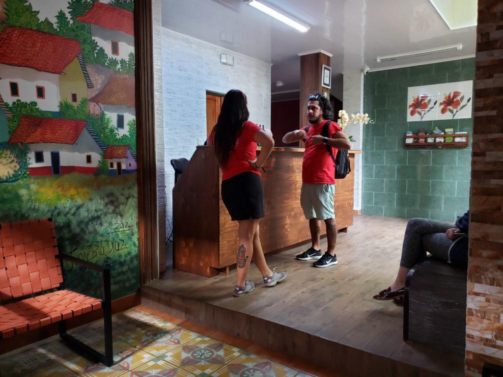 interns in hotel lobby