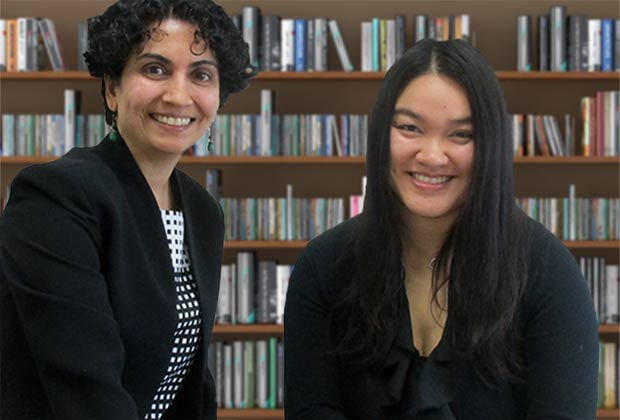 Associate Professor and SMAHRT lab director, Priya Nambisan (left), with PhD Health Sciences student Lien Nguyen.