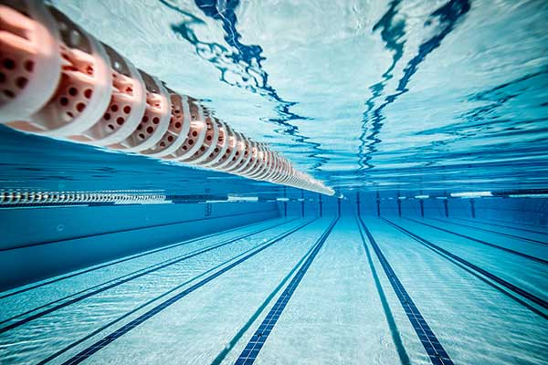 Underwater view of swimming lanes.