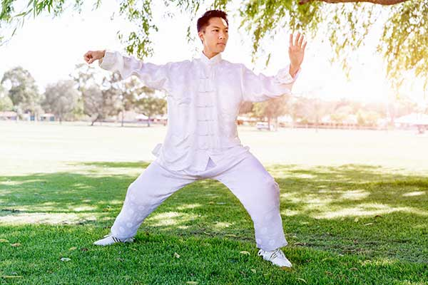 Young gentleman practicing tai chi.